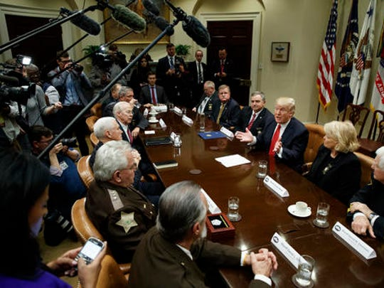President Donald Trump speaks during a meeting with county sheriffs in the Roosevelt Room of the White House in Washington, Tuesday, Feb. 7, 2017.