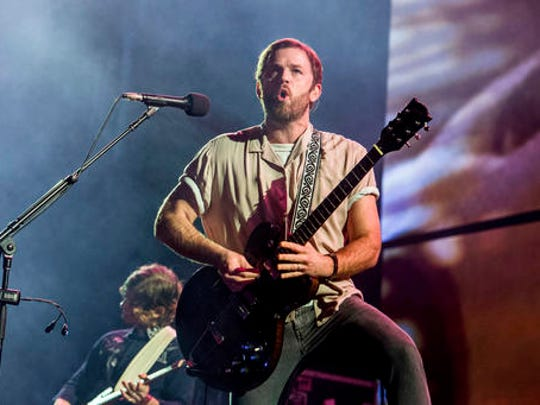 FILE - In this Saturday, Dec. 10, 2016, file photo, Caleb Followill of Kings Of Leon performs at the 2016 KROQ Almost Acoustic Christmas at The Forum in Inglewood, Calif. Kings of Leon, Snoop Dogg, Soundgarden and Sturgill Simpson are among the musical acts scheduled to perform at the Beale Street Music Festival in Memphis in May 2017, the Festival officials announced Wednesday, Feb. 22, 2017.