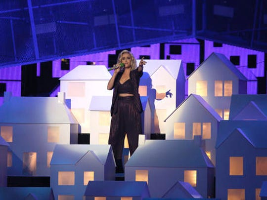 Singer Katy Perry performs on stage at the Brit Awards 2017 in London, Wednesday, Feb. 22, 2017.