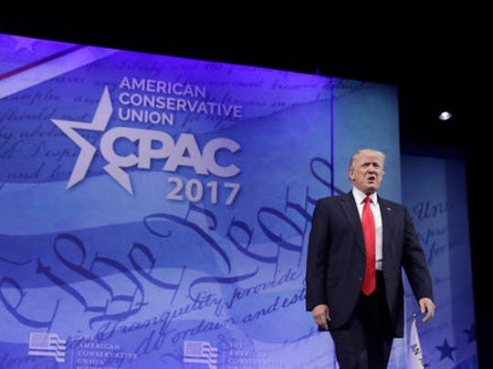 President Donald Trump arrives to speak at the Conservative Political Action Conference (CPAC) in Oxon Hill, Md., Friday, Feb. 24, 2017.