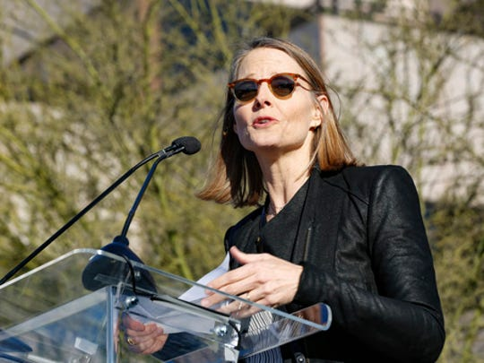 "Jodie Foster speaks at the UTA ""United Voices"" Rally at United Talent Agency headquarters on Friday, Feb. 24, 2017, in Beverly Hills, Calif. As most of Hollywood gears up for the Oscars on Sunday and the whirlwind of events and parties this weekend, celebrities and top talent agents gathered in Beverly Hills Friday to do something to do something a little different: rally for immigration rights."