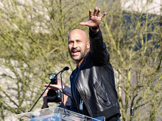 "Keegan-Michael Key speaks at the UTA ""United Voices"" Rally at UTA headquarters on Friday, Feb. 24, 2017, in Beverly Hills, Calif. As most of Hollywood gears up for the Oscars on Sunday and the whirlwind of events and parties this weekend, celebrities and top talent agents gathered in Beverly Hills Friday to do something to do something a little different: rally for immigration rights."
