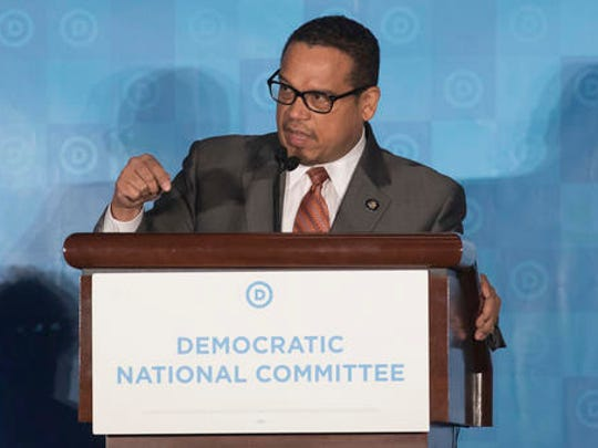 Rep. Keith Ellison, D-Minn, who is a candidate to run the Democratic National Committee, speaks during the general session of the DNC winter meeting in Atlanta, Saturday, Feb. 25, 2017.