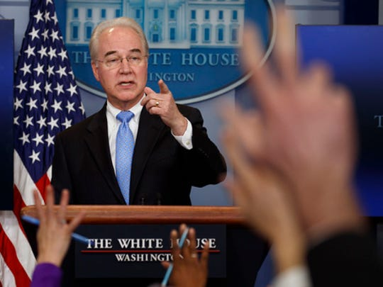 Health and Human Services Secretary Tom Price speaks during the White House press briefing, Tuesday, March 7, 2017, in Washington.