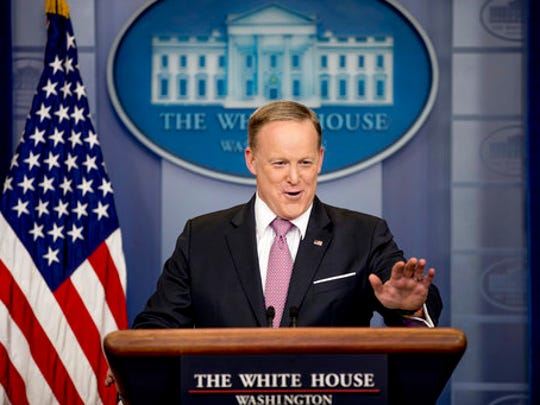 White House press secretary Sean Spicer talks to the media during the daily press briefing at the White House in Washington, Friday, March 10, 2017.
