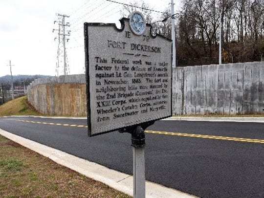 The Fort Dickerson historic marker at the entrance and retaining wall on Feb. 17, 2016.