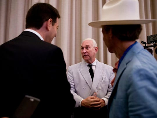 In this photo taken July 16, 2016, Roger Stone, an