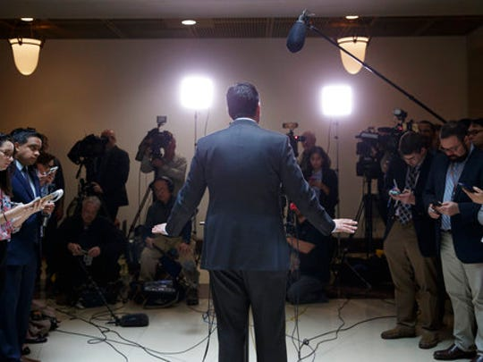 House Intelligence Committee Chairman Devin Nunes, R-Calif., speaks to reporters at the Capitol in Washington, Friday, March 24, 2017.  Nunes said Friday that Paul Manafort, the former campaign chairman for President Donald Trump, volunteered to be interviewed by committee members.