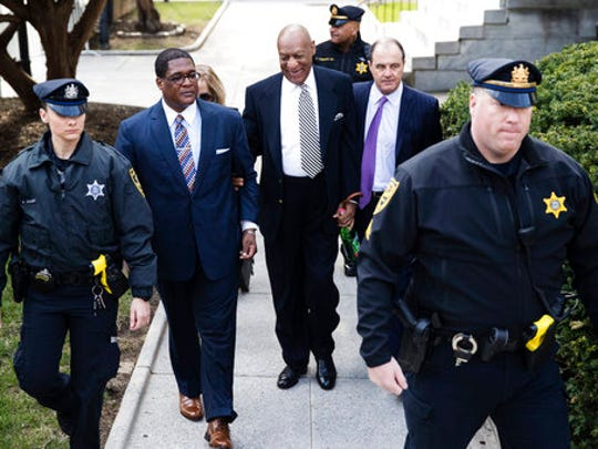 Bill Cosby arrives for a pretrial hearing in his sexual assault case at the Montgomery County Courthouse in Norristown, Pa., Monday, April 3, 2017.