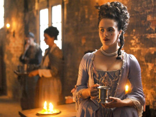"""In this image released by Hulu, Jessica Brown-Findlay portrays Charlotte Wells, an 18th-century prostitute in Hulu's drama series """"Harlots."""""""