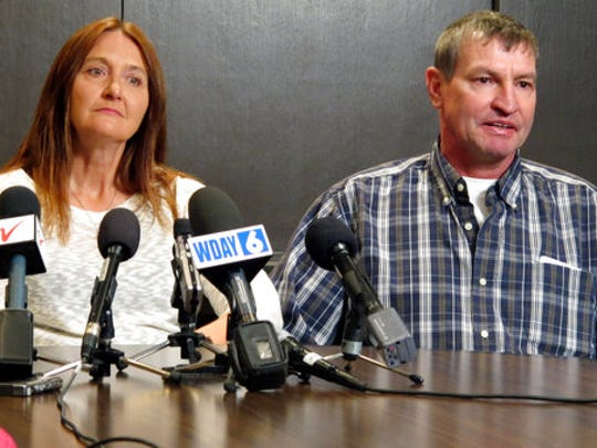 """FILE - In this April 15, 2016, file photo, Tammy and John Sadek, parents of Andrew Sadek, a North Dakota college student who was a confidential informant for a drug task force before he turned up dead, talk about the case at a news conference in Fargo, N.D. Almost three years after Andrew's death, the North Dakota Legislature is putting the final touches on a bill aimed at better protecting confidential drug informants. The bill called """"Andrew's Law"""" comes after his parents lobbied lawmakers to pass legislation which clarifies the rights of people offered the role."""