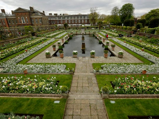 An overview shows The White Garden, a new memorial garden which marks 20 years since the death of Britain's Princess Diana, at Kensington Palace in London, Thursday, April 13, 2017. Kensington Palace was the home of Princess Diana for 15 years and is now a residence for her two sons Prince Harry and Prince William, with his wife Kate and their two children George and Charlotte.