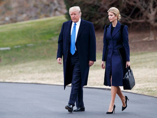 FILE - In this Wednesday, Feb. 1, 2017, file photo, President Donald Trump and his daughter Ivanka walk to board Marine One on the South Lawn of the White House in Washington. Ivanka Trump's company continues to grow. Ethics lawyers fear the more her business expands, the more it may encroach on her ability, and husband, Jared Kushner, to credibly advise the president on core issues.