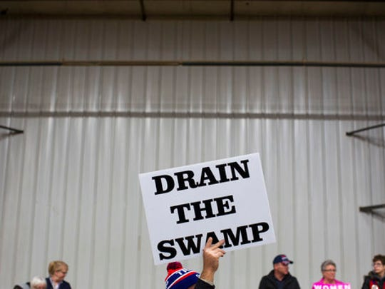 FILE - Oct. 27, 2016, Trump rally file photo