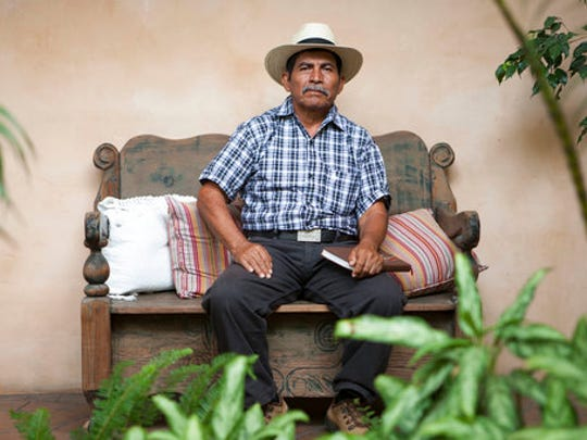 In this April 18, 2017 photo, Maya Q'eqchi leader Rodrigo Tot poses for photos during an interview in Guatemala City. Tot, a 60-year-old Guatemalan farmer and activist, has been awarded the prestigious Goldman Environmental Prize for his work in Latin America, a region where two past Latin American winners have been murdered in the last year.