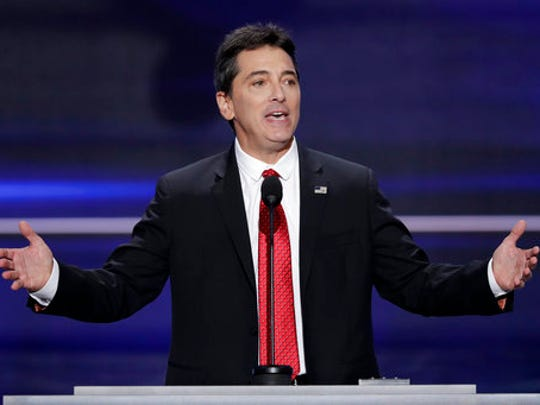 "FILE - In this  July 18, 2016, file photo, actor Scott Baio speaks during the opening day of the Republican National Convention in Cleveland. Baio wrote on Facebook April 25, 2017, that he was responding to media reports when suggested the death of his former ""Happy Days"" co-star Erin Moran may have been due to substance abuse problems."