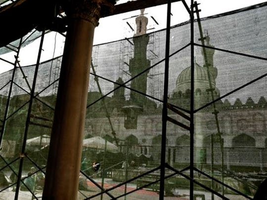 This Feb. 20, 2017 photo, shows renovations at Al-Azhar Mosque in the Egyptian capital, Cairo. Egypt is embroiled in a blistering political feud over who speaks for Islam and how to bring reforms to counter Islamic militancy. At the center of it is Al-Azhar, one of the top institutions of clerics in the Muslim world and considered the bastion of moderate Islam. Critics, including Egypt's pro-government, say it is too tied down in old ways and failing to modernize its teachings, fueling extremism.