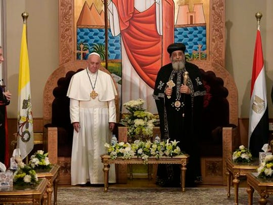 Pope Francis, left, meets Pope Tawadros II, spiritual leader of Egypt's Orthodox Christians, at Cairo's St. Mark's Cathedral, Friday, April 28, 2017. Francis is in Egypt for a two-day trip aimed at presenting a united Christian-Muslim front that repudiates violence committed in God's name