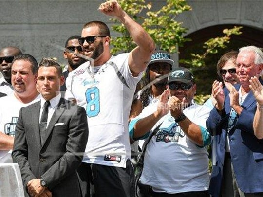 Jake Metz celebrates in his hometown of Philadelphia after he helped lead the city's Arena Football League team to a championship in 2016.