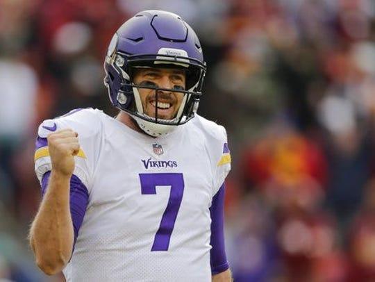 Minnesota Vikings quarterback Case Keenum (7) celebrates