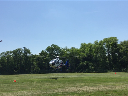 An AtlantiCare helicopter lifts off Friday around noon