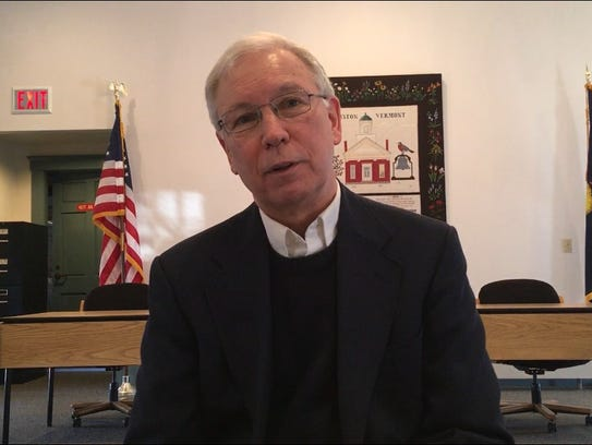 Williston Town Manager Rick McGuire speaks about an