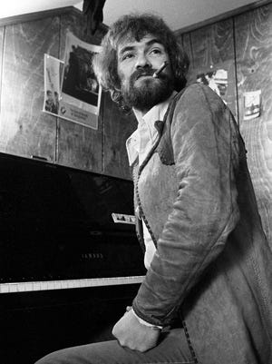 """Songwriter Donnie Fritts talks about his new album, """"Prone To Lean,"""" on March 4, 1975 at the Combine Music offices on 16th Avenue South. Fritts, who plays piano for Kris Kristofferson, acted in three movies for director Sam Peckinpah."""