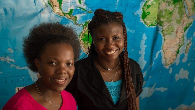 Rebecca Nassimbwa (left), of Uganda, and Mavis Dome, of Ghana, are grad students and MasterCard Foundation Scholars at MSU.