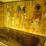 The gold mask of King Tutankhamun is seen in a glass case during a press tour, in the Egyptian Museum near Tahrir Square, Cairo.