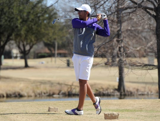 Wylie's Phillip Hurtado tees off from No. 17 during