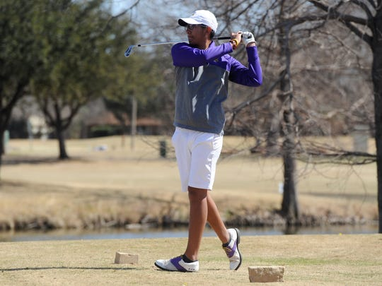 Wylie's Phillip Hurtado tees off from No. 17 during the Wylie Invitational at the Abilene Country Club's Fairway Course on Wednesday, March 7, 2018.