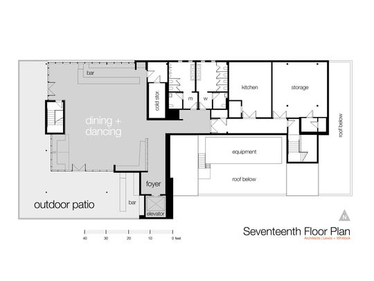 A preliminary floorplan of the 17th floor of the Double