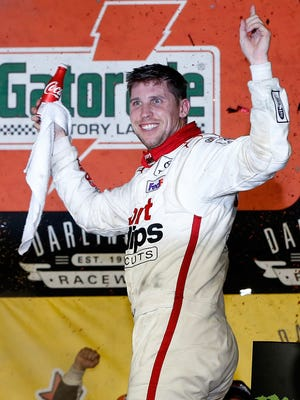 Denny Hamlin celebrates his second win of the season and his second in the Southern 500.