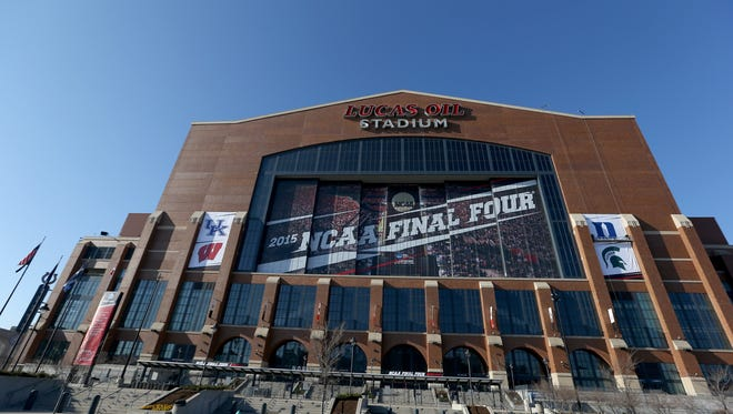 Lucas Oil Stadium, home of the 2015 Final Four, is seen on April 1, 2015 in Indianapolis, Indiana. Police presence around the stadium and city will be increased.