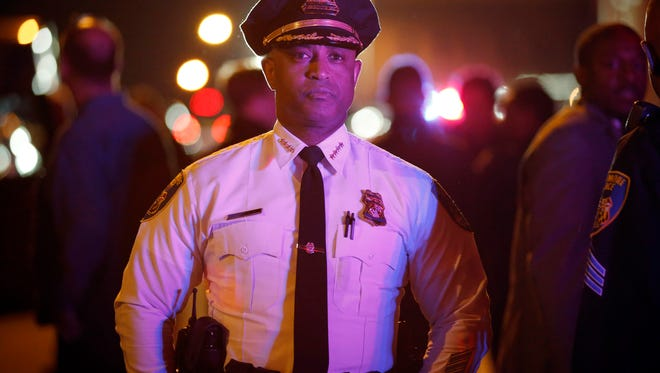 Baltimore Police Commissioner Anthony Batts, shown here surveying the city streets on April 30, said police wanted to allow people to express their freedom of speech and that officers were striving to take a measured approach to the demonstrations