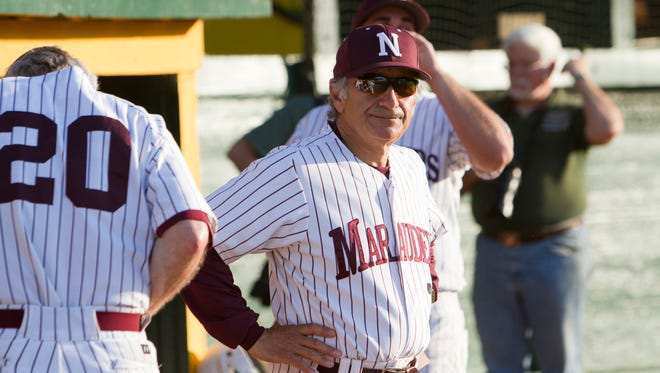 Frank Pecora, seen here in his last game as coach of the Northfield High School baseball team in 2012, was elevated to lead the Norwich club earlier this week.