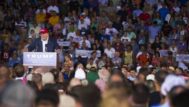 Republican presidential candidate  Donald Trump speaks during a campaign pep rally, Friday, Aug. 21, 2015, in Mobile, Ala
