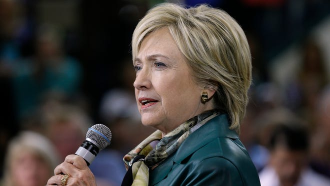 Hillary Clinton speaks during a community forum on Oct. 6, 2015, in Davenport, Iowa.