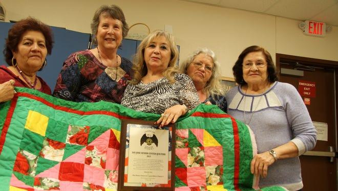 Pictured are, from left to right: Cris Sosa, Pat Jones, San Jose Senior Center Director Amparo Vasquez, Franceal Lucia and Dalila Henderson
