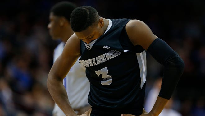 Providence Friars guard Kris Dunn (3) reacts after being down by 20 points against Seton Hall Pirates during second half at Prudential Center. Seton Hall Pirates defeated Providence Friars 70-52.
