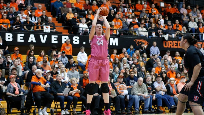 Oregon State's Ruth Hamblin (44) in the first half of an NCAA college basketball game in Corvallis, Ore., on Sunday, Feb. 14, 2016.