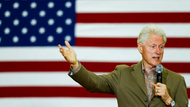 Former President Bill Clinton delivers a speech at the Prestonsburg Elementary School in eastern Kentucky on May 12, 2016.