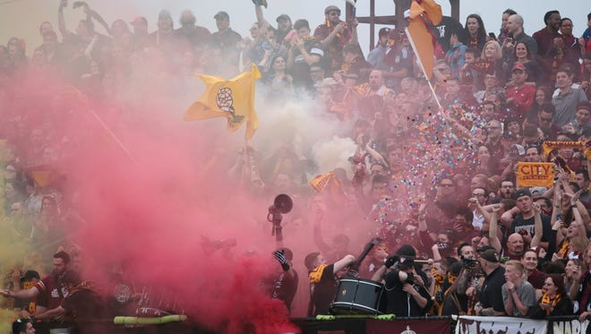 Detroit City FC fans cheer on May 20, 2016.