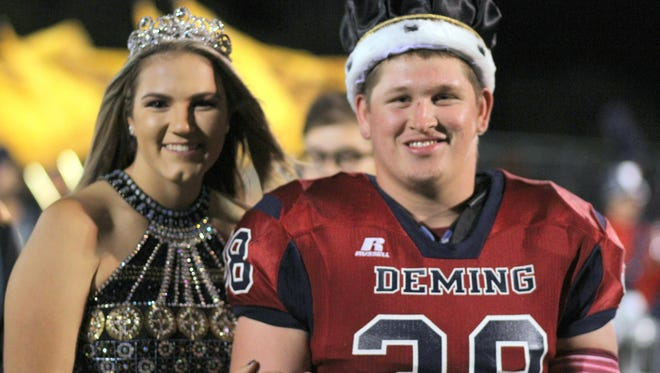 Deming High seniors Aubrey Sandoval and Armando Perales III were crowned DHS Queen and King during a halftime ceremony at the Flowing Well-Deming football game Friday night at DHS Memorial Stadium. Students, faculty and staff celebrated Wildcat Homecoming during the past week with student activities, a parade through town and the traditional Powder Puff Football Game and bonfire.