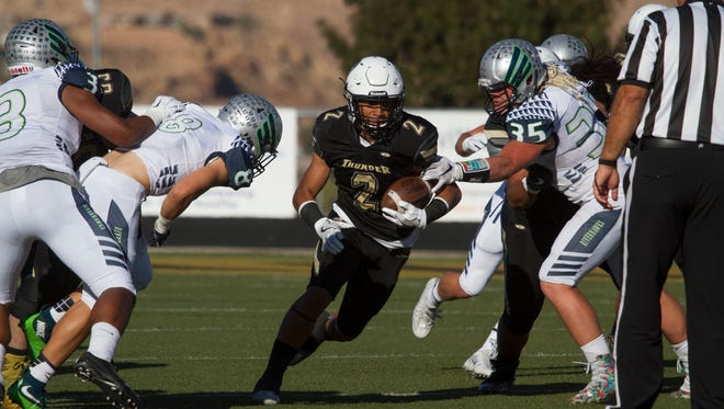 Desert Hills football defeats Ridgeline 49-24 in quarterfinals Friday, Nov. 4, 2016.