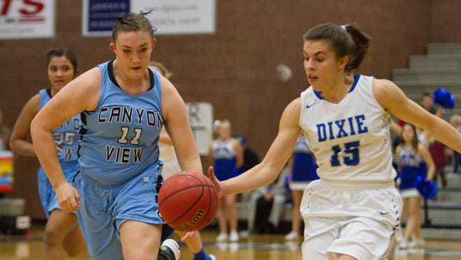 Dixie High School girls basketball takes on Canyon View Tuesday, Dec. 20, 2016.