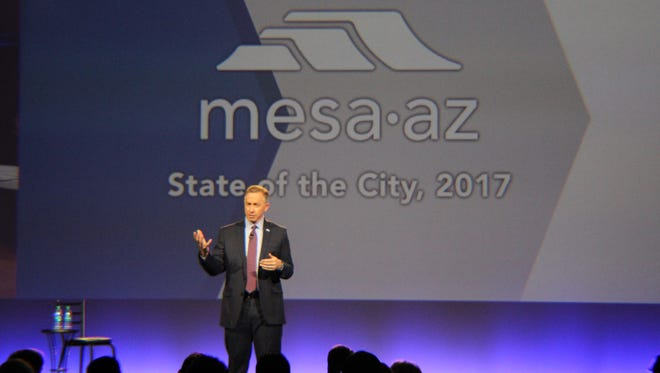 Mesa Mayor John Giles delivers his annual State of the City address on Jan. 31, 2017, at the Mesa Convention Center.