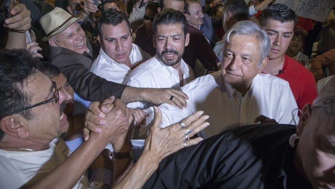 Mexican politician Andres Manuel Lopez Obrador, better known as AMLO, spoke in Phoenix on Tuesday.