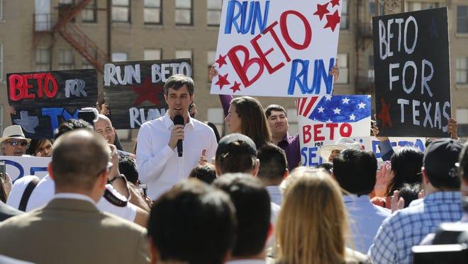 Congressman Beto O'Rourke announces his run for U.S. Senate on Friday, March 31, 2017.