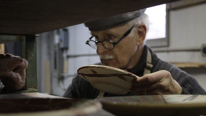 """""""You could say I am hopelessly in love with bits and pieces of the making of pots,"""" ceramist John Glick said of his craft."""